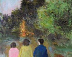 Bredäng/Den brinnande busken. SÅLD.Akryl på duk 33x41.