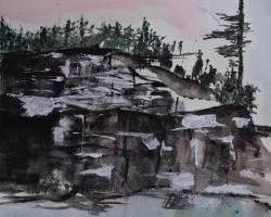 Klippan och granen. Från ateljén. Akvarell. SÅLD.