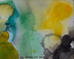 MAMMA, VARFÖR HAR DU ÖVERGIVIT MIG. Liten akvarell, 14x45, gjord med schabloner. I privat ägo.