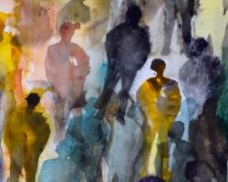 Hundra röster inom mig. Akvarell gjord med schabloner. SÅLD.