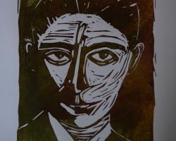 Kafka tryckt på slätt fint papper med variation i färg.