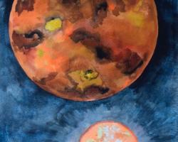 """""""Vän med Venus"""". Akvarell."""