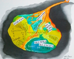 jag har ett hål i mig ... Akvarell och collage (ord från tidskriften FILTER)