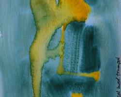 Mamma som ängel med trumpet. Torbjörn, min bloggarvän, döpte den. Den är gjord i akvarell på blött papper.