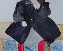 Titta på den här akvarellen från någon gång i tiden. På flickans ben.