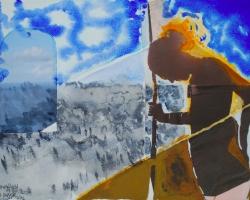 Bergfast. Collage med Kajsa B, akvarell. EJ TILL SALU.