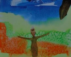 """Moses sa: """"Ge dig! 40 år i öknen?"""" Akvarell och collage. I PRIVAT ÄGO."""