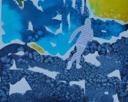 Man kan alltid försöka springa ifrån sina problem. Akvarell med salteffekt, collage.