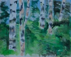 Norrländsk djungel Akvarell. I privat ägo.