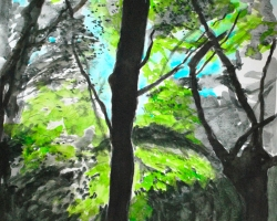 Med Hill i skogen. Akvarell. I privat ägo.