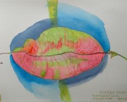 Kysstäck frukt. Sedd vid stenbrottet. Akvarell. SÅLD
