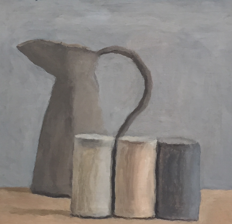 Titta på den här målningen av Morandi. Hur formerna trängs, handtaget som går ner mellan objektet. Den stillsamma färgskalan. En målning jag önskar jag hade gjort.